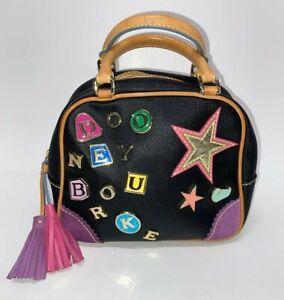 "Vintage DOONEY & BOURKE ""Lindsay Lohan"" Charms,Hearts,Rainbow BLACK Handbag"