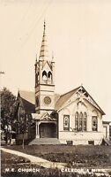D29/ Caledonia Minnesota Mn Real Photo RPPC Postcard c1910 M.E. Church Building