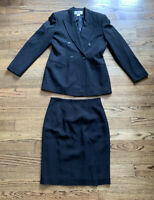 Evan Picone Womens Beautiful Solid Black Polyester Skirt Suit sz. 10