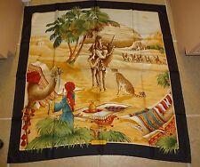 "Vintage Salvatore FERRAGAMO Silk Scarf 34"" x 34"" Persian Camel Scene / Tiger"