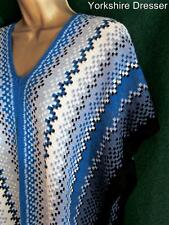 New MISSONI Blue White Black Wool Knit KAFTAN Boho Cover-up Poncho Top *LAST ONE