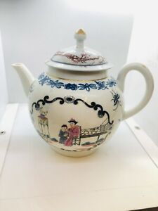 C18th English Porcelain First Period Worcester Teapot Circa 1755