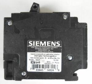 Siemens 15A 120 / 240 VAC 2 Pole Circuit Breaker Q1515 #7fq