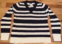 Gap Women's (M) Medium Navy Blue & White V-Neck Striped Sweater. Nwt
