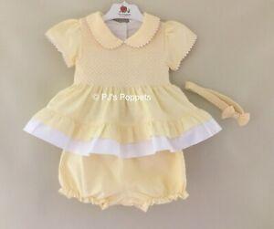 BABY GIRLS TRADITIONAL SHORT SMOCKED DRESS TOP BLOOMER SET YELLOW