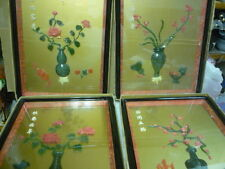 vintage set of 4 hanging pictures with jade design flower vases home decor