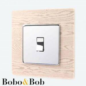 Light Wood Effect Light Switch Surround - Printed Acrylic - Beech Wood Design