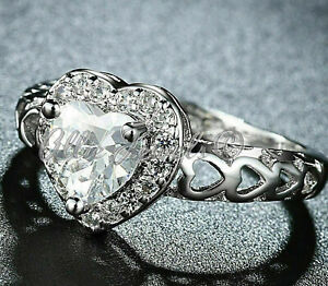 2.76ct Heart cut Solitaire cut Diamond Engagement Ring Solid 14K White Gold