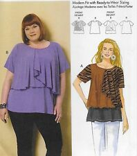 New Plus Size 18W-44W Womans Loose Pullover Knit Top Uncut Sewing Pattern 6396