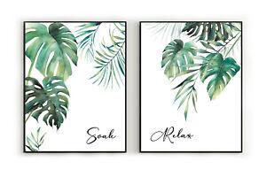 Tropical leaves bathroom prints, monstera leaf wall art, bathroom quotes prints