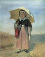 """stunning  oil painting handpainted on canvas """"a woman walking on a road"""""""