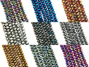 Faceted Rondelle Metallic glass crystal Abacus beads 3x2 4x3 6x4 8x6 10x8 12x9