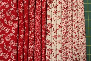 """13 RED AND WHITE REVERSED QUILT FABRIC FAT QUARTERS (18x22"""") BY CHOICE FABRICS"""