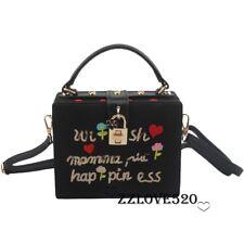 Designer Women Black Box Clutch Messenger Evening Bag Hard Box Handbag Purse