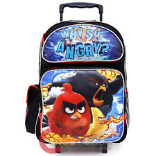 """Angry Birds Large School Roller Backpack 16"""" Trolley Rolling Wheeled Bag Why SO"""