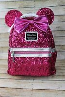 NWOT Loungefly Disney Imagination Hot Pink Sequin Minnie Mouse Mini Backpack