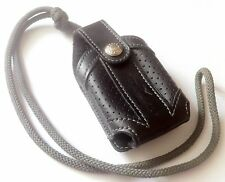 FRENCH FACONNABLE 1990s CELL-PHONE SPORTS CARRY CASE~BLACK LEATHER~MINT VINTAGE