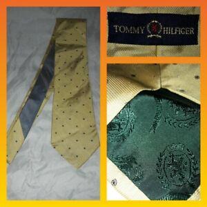 Tommy Hilfiger yellow silk necktie grey tie