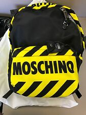 SS16 Moschino Couture X Jeremy Scott Caution Backpack Black Yellow NWT OFF-WHITE