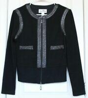 Joseph Ribkoff Womens Black Soft Zip Up Jacket w/ Faux Leather Trim Size 6 EUC