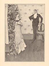 A.B. Wenzell, Lovers' Quarrel, Romance, Fashion, Vintage,1908 Antique Art Print,