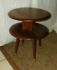 Mid Century Queencity Solid Walnut Round 2 Tier End Table / Side Table  (T133)