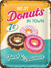 Donuts, Retro American Diner Food, Vintage Advert, Small 3D Metal Embossed Sign