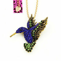 Betsey Johnson Cute Crystal Hummingbird Pendant Chain Animal Necklace/Brooch Pin