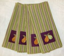 Set of 4 ~ Striped Kitchen Towels Embroidered with Pears ~ 100% Cotton ~ Used