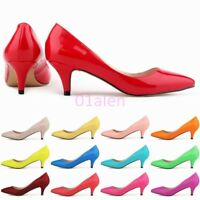 Womens Leather Wedding Pointed Toe Kitten Heels Slip on Pumps Classic Chic Shoes