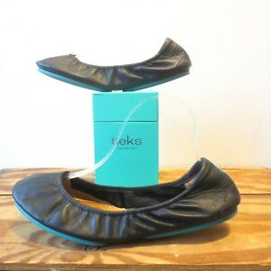 10 - Tieks by Gavrieli Matte Black Leather Ruched Flats Shoes w/ Box 0923MC