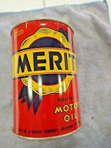 "Beautiful Unopened 1940s 1950s "" Merit "" Oil One Quart Round Metal Can ! ! !"