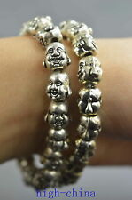 Collectible Handwork Old Miao Silver Carve Buddha Head Exorcism Royal Bracelet