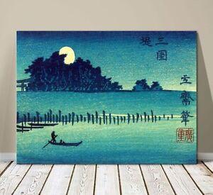 "Beautiful Japanese Landscape Art ~ CANVAS PRINT 16x12"" ~ Hiroshige Fukeiga Lake"