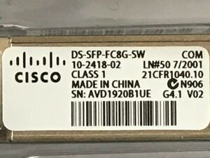(LOT OF 4) CISCO 8Gb FIBRE CHANNEL SFP's MODULES (DS-SFP-FC8G-SW) 10-2418-02