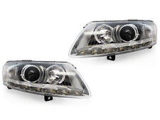 DEPO 05-08 Audi A6 C6 Chrome Bi-Xenon Projector LED Strip D2S Xenon Headlight