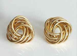 Beautiful Chunky Vintage 1991 9ct Solid Yellow Gold & Fancy Love Knot Earrings