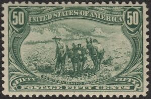 1898 XF 50¢ TRANS-MISS 291 LIGHTLY HINGED, GORGEOUS PREMIUM STAMP $600+ W/CERT