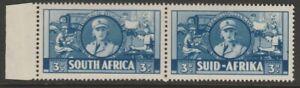 South Africa MINT 1941-46 ERROR VARIETY Smoking Cigarette 3d blue pair sg91a