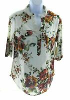 Love Potion Womens Ivory Floral V Neck Top 3/4 Length Roll Tab Sleeve Casual