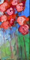 """Claire McElveen Floral  Art ORIGINAL Acrylic   PAINTING Signed Large 24"""" Signed"""