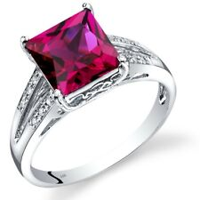 14k White Gold Created Ruby Diamond Ring Princess Cut 3 Carats Size 7