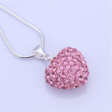 Fashion Women Pendant Jewelry Crystal Pink Heart Silver Plated Necklace+Chain