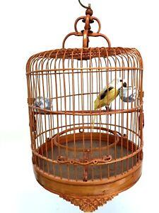 Vintage HAND CARVED Chinese BAMBOO Hanging BIRD CAGE Orange MCM Rattan BOHO Tiki