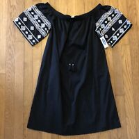 NEW Old Navy Shift Dress Black White Embroidered Tassel Boho Off Shoulder Small