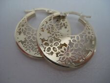 Gold hoop earrings 9 carat yellow gold floral