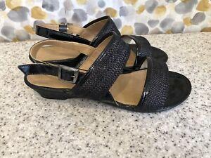 Clarks Ladies Black Leather Sandals Size Uk4 Fab Condition