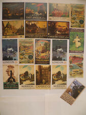 20 Large Postcards of GWR LNER Southern North Eastern Railway Advert Art Posters