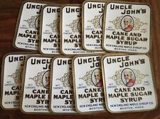 LOT OF (10) UNCLE JOHN'S BRAND CANE & MAPLE SUGAR SYRUP LABELS NEW