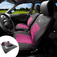 Leather Seat Cushion Covers Bucket Set Diamond Pattern Black Pink w. Dash Mat